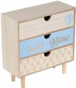 Tiroir De Rangement Bois : commode de rangement 3 tiroirs en bois bleu cactus ~ Melissatoandfro.com Idées de Décoration