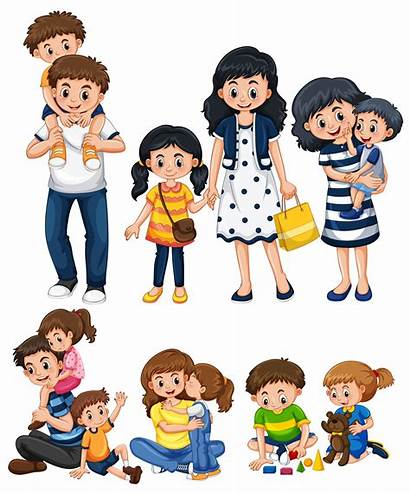 Mother Father Vector Activities Different Playing Cartoon