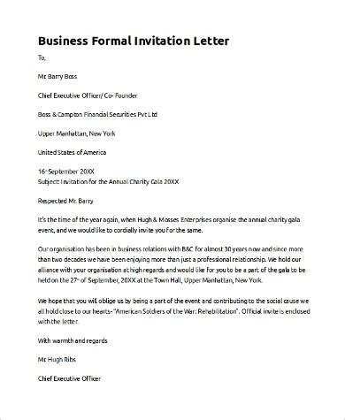 sample invitation letter  examples   word