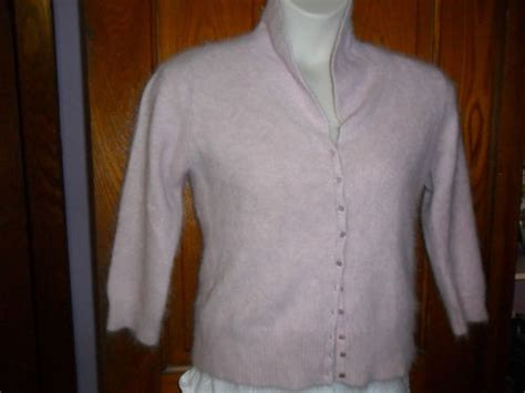 Vintage Fuzzy Fluffy Angora Cardigan Sweater Uk Size 16 Us Size L So Soft