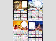 Kit Calendário 2019 Natal E Ano Novo Molduras Máscaras Png