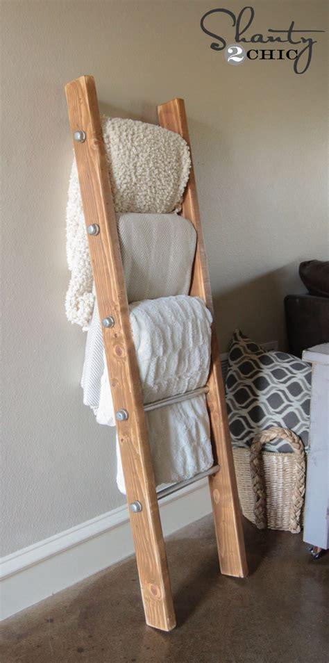 diy wood  metal pipe blanket ladder shanty  chic