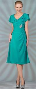 jade chiffon short tea length v neckline with short With tea length dresses with sleeves for wedding guest