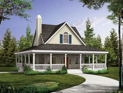 country house plans with wrap around porch the covered porch wraps around the entire 2 bedroom country style home country house plan