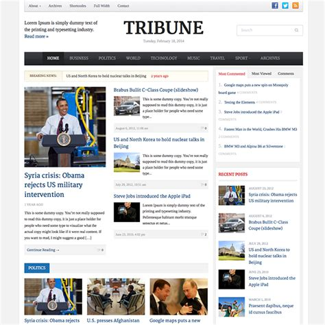 Word Press News Themes Tribune News Theme Wpexplorer