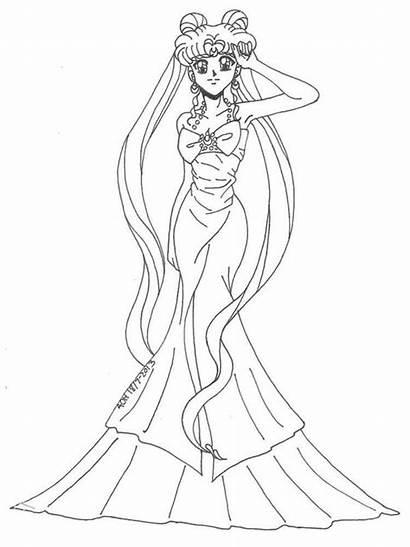 Coloring Serenity Princess Ausmalbilder Prinzessin Sailor Moon