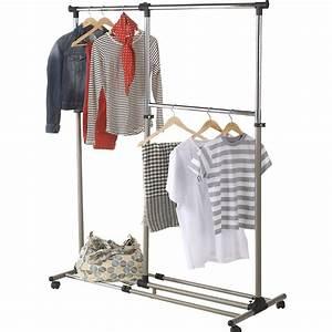 Portant Vetement Leroy Merlin : portant extensible 3 niveaux gris acier spaceo x l ~ Nature-et-papiers.com Idées de Décoration