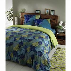 Parure De Lit Tropical : parure de lit 240 x 260 cm en coton bleu vert tropical maisons du monde ~ Teatrodelosmanantiales.com Idées de Décoration