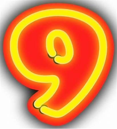 Neon Clip Numerals Vector Svg Numeral Nine