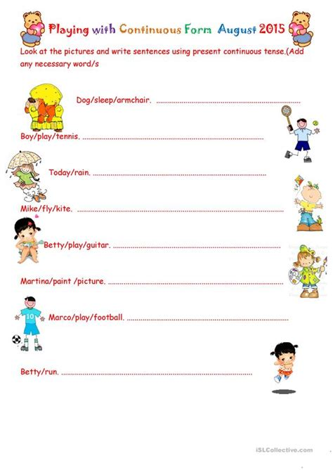 playing teacher worksheets playing with continuous form august 2015 worksheet free