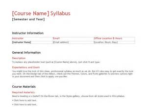 Teacher Syllabus Template Free
