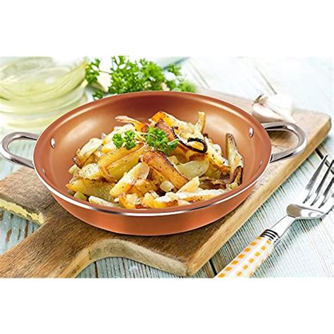 copper cookware frying pan    tempered glass lid
