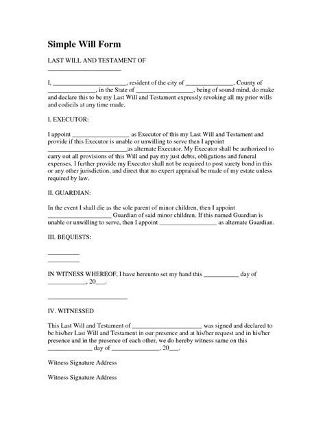 Simple Will Template Form Last Will And Testament Form