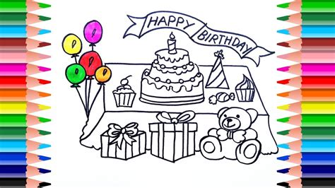 How To Draw Birthday Party For Kids With Cream Cake, Candy
