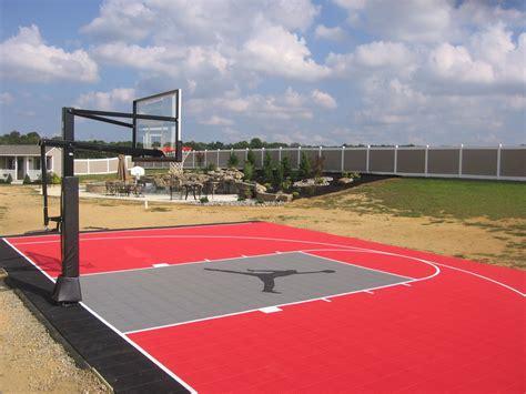 backyard  basketball court  custom logo built