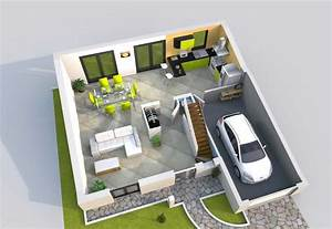 plan de maison 3d 100m2 With plan d appartement 3d 1 plan de maison 60m2 3d