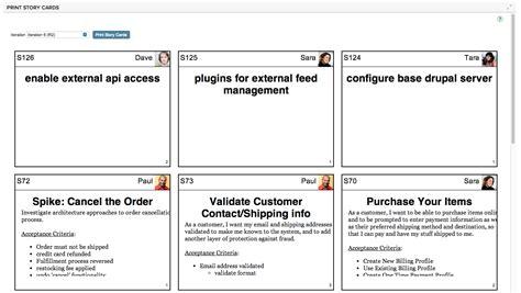 print story cards ca agile central ca technologies