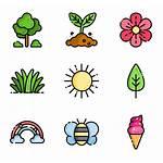 Spring Icons Flower Freepik Watercolor Vectors Vector