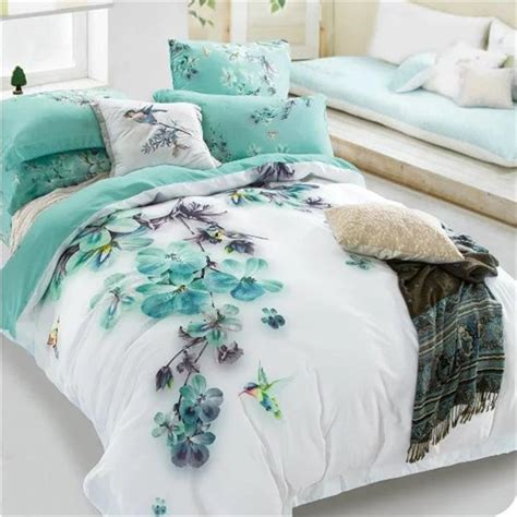 fitted sheet pale turquoise floral and bird print bedding sets