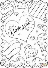 Coloring Valentine Valentines Printable Supercoloring Drawing Paper Crafts sketch template