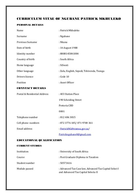 Cv Format Template South Africa by Ngubane Pm S Cv 1 Professional Accountant South Africa