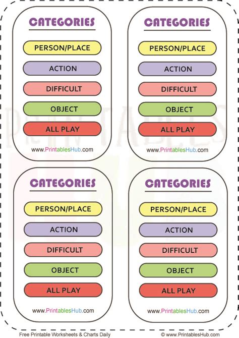 Free Printable Pictionary Words And Category Cards Pdf