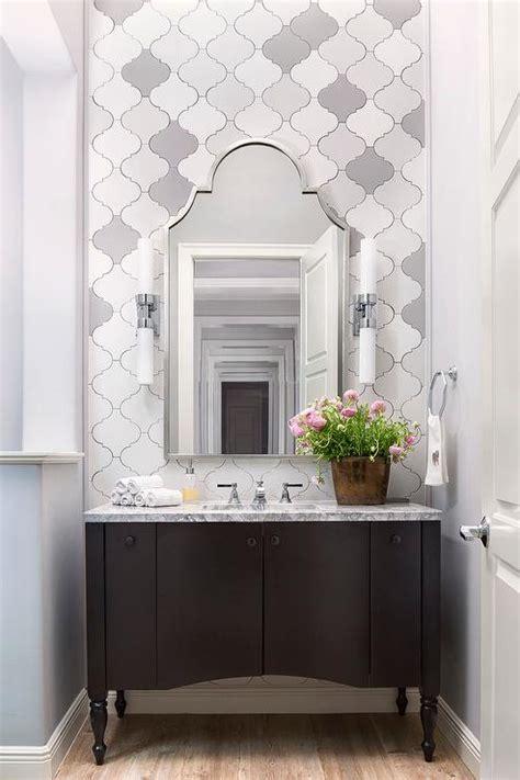 white  gray arabesque wall tiles transitional bathroom