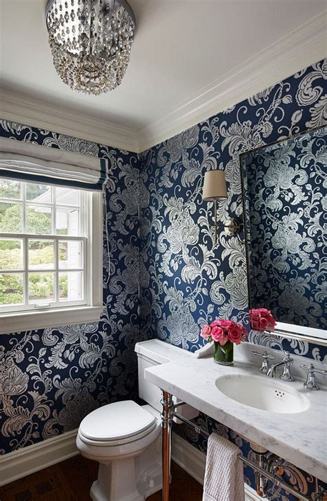 powder room wallpaper powder room  navy wallpaper