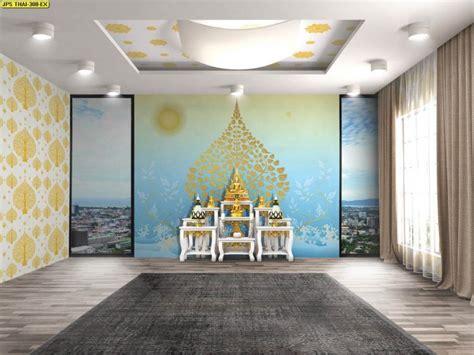 วอลเปเปอร์ ลายไทยต้นโพธิ์ทอง พื้นหลังสีฟ้า