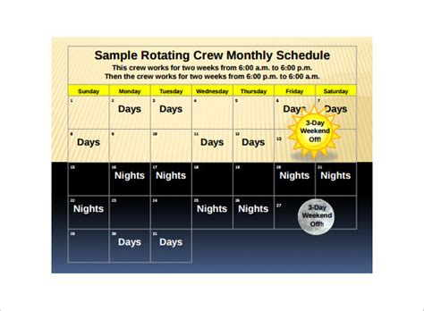 rotation schedule templates   sample templates