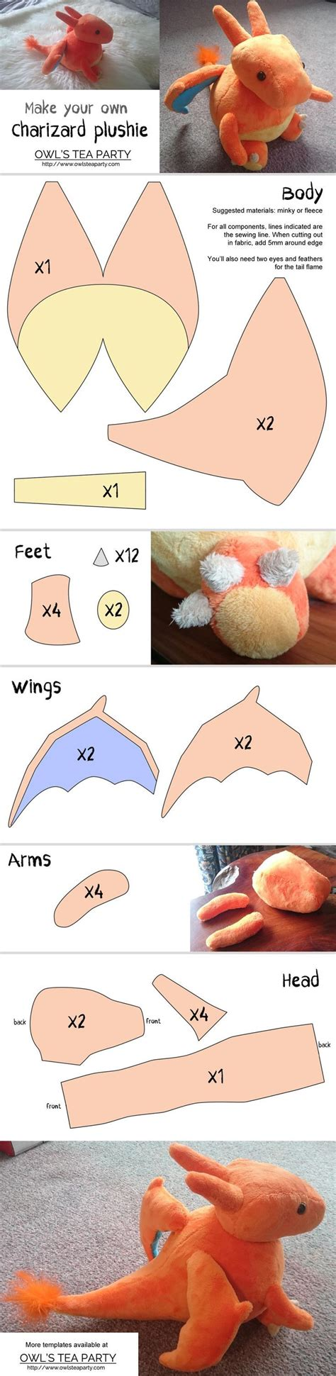 Felt Plushie Templates by Charizard Plushie Template Felt Monsters Dino