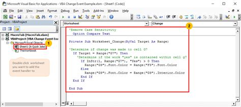 trigger  vba macros  run based   specific