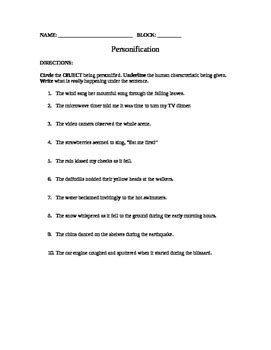 Free Personification Worksheet  Grades 6,7,8 By Mindy's Masterpieces
