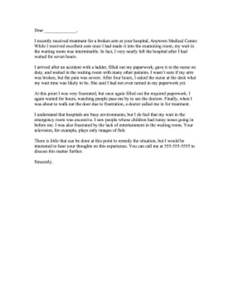 complaint letter  hospital