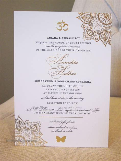 Indian Wedding Gold Foil Invitation Sophisticated OM