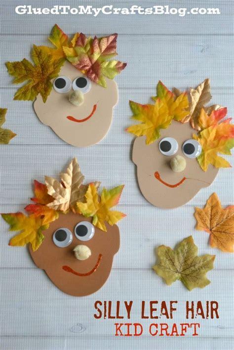 silly leaf hair kid craft crafts  kids fall crafts