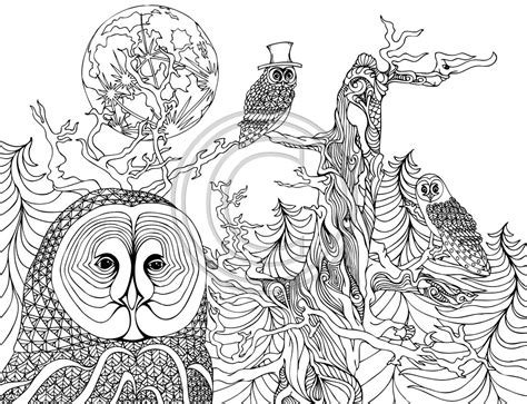 the night owls coloring pages colouring adult detailed