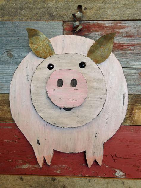 oink oink wooden pig wall decor  images wood log