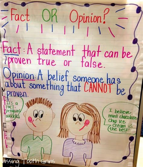 Fact and Opinion Anchor Chart Pinterest