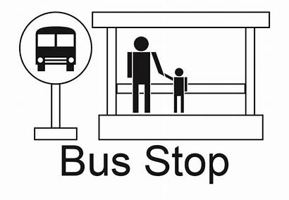 Bus Stop Clipart Sign Station Symbol Map