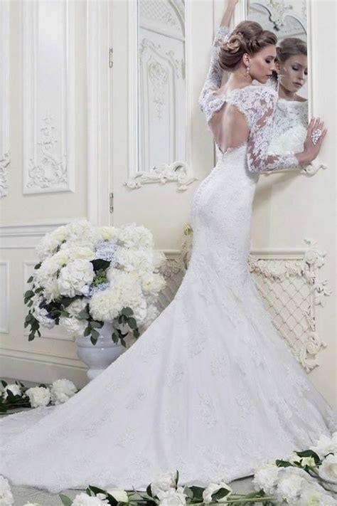 2014 Fashion Whiteivory Mermaid Long Sleeve Lace Wedding