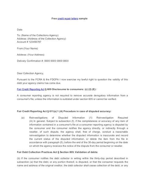 credit dispute letter template pdf credit repair letter