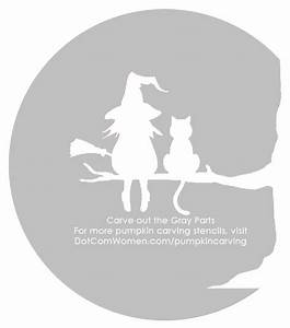 Witch, And, Cat, Sitting, On, A, Tree, -, Halloween, Pumpkin, Carving, Stencil