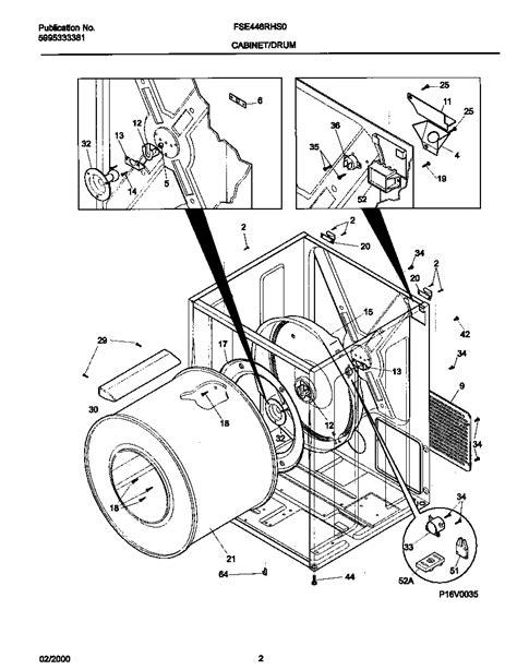 frigidaire dryer cover parts fse446rhs0 searspartsdirect