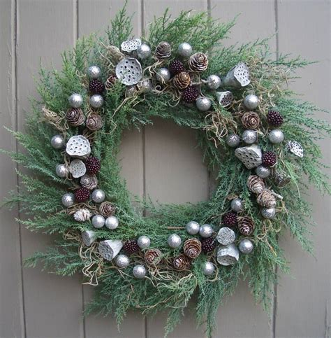 contemporary silver sparkly christmas wreath by pippa