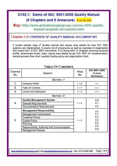 Iso 9001 Forms Templates Free by Iso 9001 Manual For Quality Management System 8 Chapters