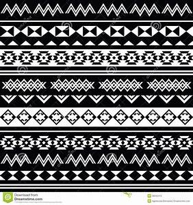 Aztec Tribal Seamless Black And White Pattern Stock ...