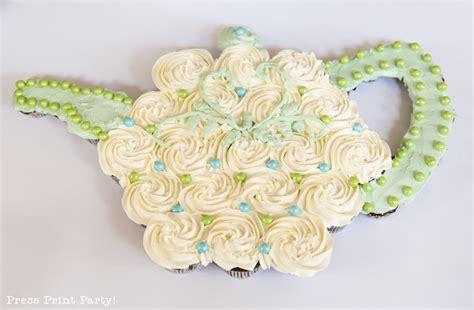 teapot cupcake cake template  tutorial  press