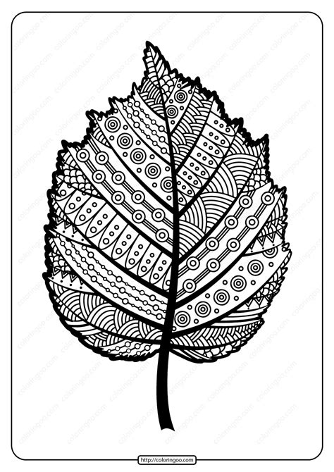 printable zentangle hazel leaf  coloring page