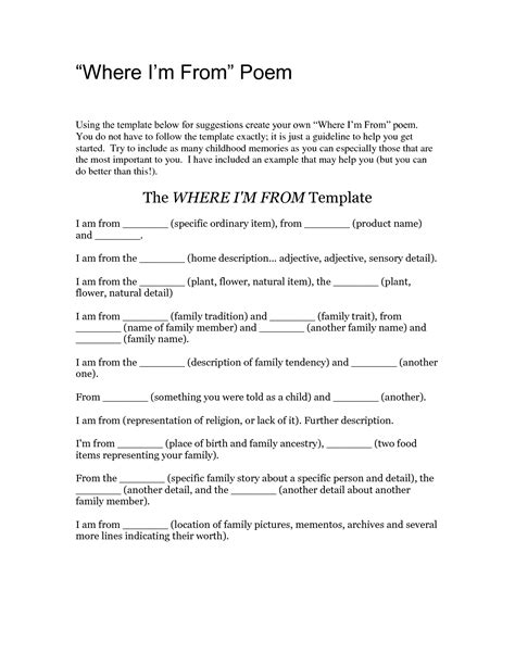 where i m from poem template pdf list poem template 28 images students could use this i am poem template to describe list